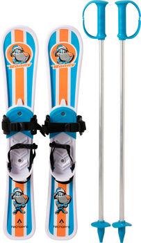 TECNOPRO Little Warrior set dětské lyže s vázáním a hůlkami bílá
